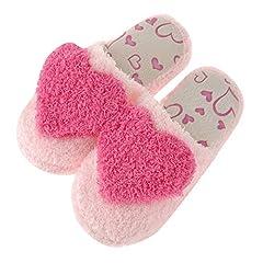 Idea Regalo - Pantofole Ciabatte Calde Peluche Modello di Cuore Morbido Interno Antiscivolo Pantofole per Donna Rosso 36/37 EU