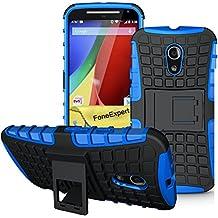 Moto G (2nda Generación) Funda, FoneExpert® Heavy Duty silicona híbrida con soporte Cáscara de Cubierta Protectora de Doble Capa Funda Caso para Motorola Moto G (2nda Generación) + Protector Pantalla (Azul)