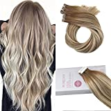 Moresoo 14Zoll Tape in Dip Dyed Haarverlängerung Echthaar Ombre Haarfarbe #8 Brown Ombre to #22 Highlight with Brown Balayage Tape Remy Hair Extensions Human Hair