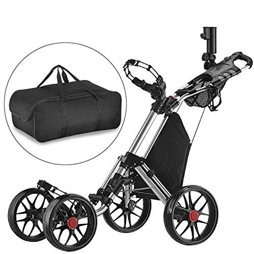 Caddytek facile pliage roue de chariot de golf 4 pousser / tirer et avec le sac d'entreposage,...