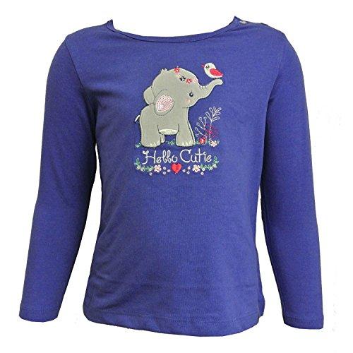 Salt and Pepper Baby Mädchen Langarmshirt, Shirt in indigo blue mit Druck, Größe:86 (Indigo Langarm Pullover)