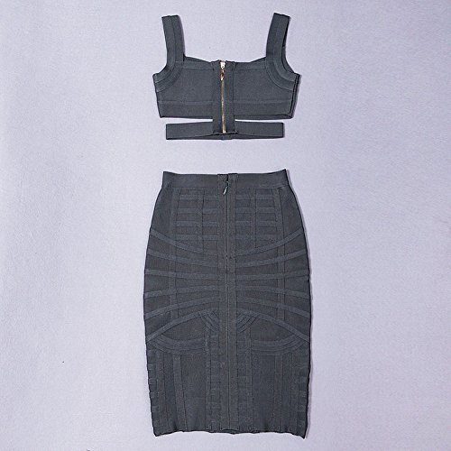 HLBandage Women's Sexy Crop Top 2 Pieces Spaghetti Strap Bandage Dress Nero
