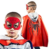 LAEGENDARY Superhero Costumes for Kids - 4 Capes and Masks - Glow Spiderman Logo - Boys and Girls Toys - Birthday Gifts and Party Supplies for Kids