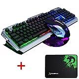 lexonelec® Gaming-Tastatur und Maus-Kombi ergonomisch Multimedia Wired V1LED-Anzeige mit Hintergrundbeleuchtung, USB-Tastatur, Metall, wasserdicht, mit 3200DPI mit 7Farben, LED Optical Gamer Maus Sets + Gaming Mousepad