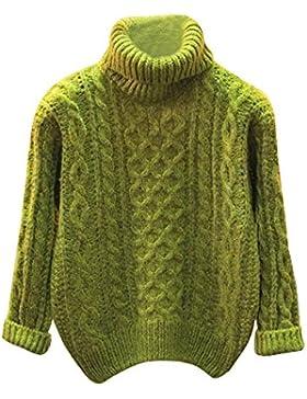 Qitun Mujeres Retorcido De Cuello Alto Sueter Flojo De Punto Pullover Los Estudiantes suéter Verde