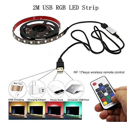 2M 5050 RF 17Key USB RGB streifen DC5V wasserdicht 60leds/m lampe zieren - farbe RGB LED Lichtleiste für haus garten küche kabinett beleuchtung dekoration