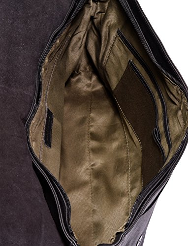 LEABAGS Oxford sac bandoulière rétro-vintage en véritable cuir de buffle - Olive OnyxBlack