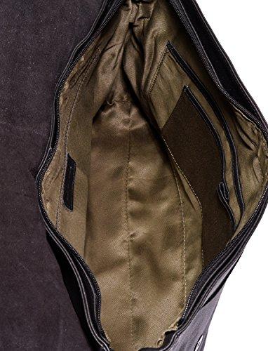 LEABAGS Oxford - Borsa Messenger in vera pelle di bufalo - Look vintage - Noce moscata OnyxBlack