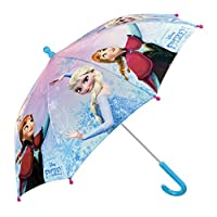 Disney Frozen Kids Umbrella - Stick Umbrella Girls with Anna and Elsa - Windproof and Resistant Brolly - Safety Opening - 3 to 6 Years - Light Blue - Diameter 76 cm - Perletti