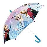 Paraguas Disney Frozen de Niña - con Estampado Elsa y Anna - Paraguas Resistente, antiviento y Largo - Apertura de Seguridad - 3-6 Años - Azul - Diámetro 76 cm - Perletti