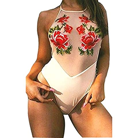 Abuyall Lady Embroidered Floral Bodysuit Sheer Tops Padded Mesh Bikini Swimsuit E CNxl