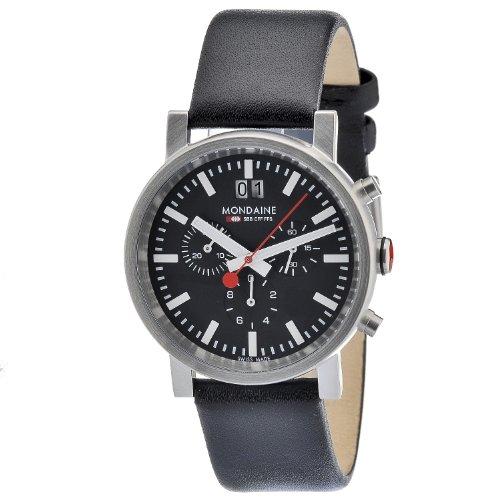 Mondaine SBB Evo Chronograph 40mm A6903030414SBB Reloj de pulsera Cuarzo Hombre correa de Cuero Negro
