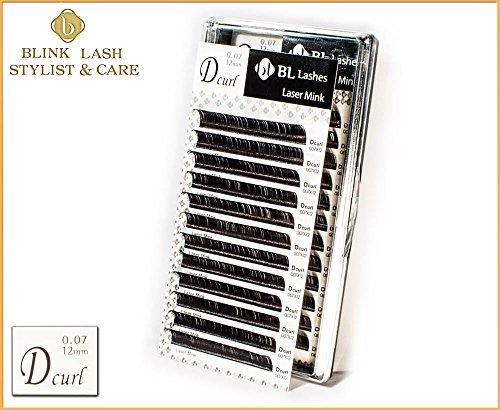 Premium-Qualität 12 mm - D curl - 0,07 mm für einzelne Wimpernverlängerung. Blink Lash Stylist mit echten Aufkleber. Für den professionellen Einsatz !!!