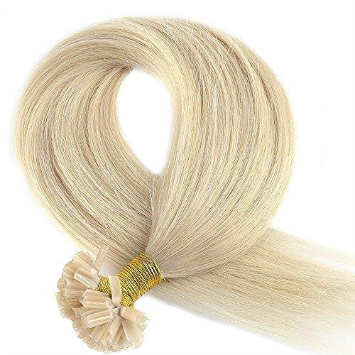50cm 200ciocche hair extension cheratina capelli veri naturali 100% remy human hair pre bonded u-tip nail hair keratina allungamento, 100g, 60# biondo