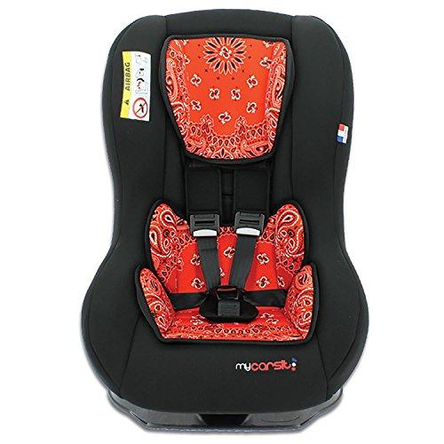 mycarsit Autositz, Gruppe 0+/1(von 0bis 18kg), Motiv Bandana Rot