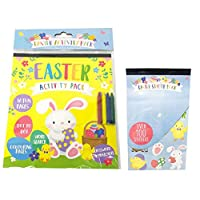 Easter Activity Pack Kids Colouring in Book 16 Pages Crayons 100 Stickers Pads Sheets Puzzles Games Brain Teasers Crosswords Activities Travel Treat Bag Fillers Arts Crafts Children Fun