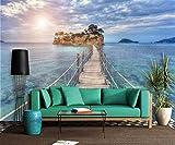 Wxlsl 3D Tapete Eine Offshore-Hängebrücke Zur Insel Wohnzimmer Hintergrund 3D Tapete Mural Foto Wand-150cmx105cm