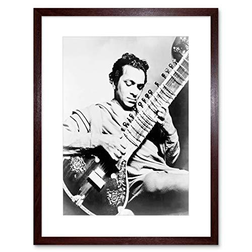 MUSIC VINTAGE RAVI SHANKAR SITAR STAR INDIA BLACK FRAMED ART PRINT B12X12193