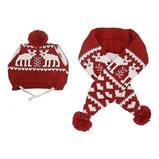 Pet Weihnachts Kostüm Weihnachten Mütze + Schal für kleine Hunde & Katzen Urlaub Accessory, rot Medium