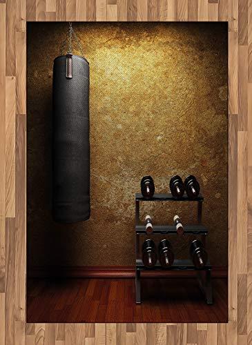 Abakuhaus Fitness Teppich, Fitnessraum und Hanteln, Deko-Teppich Digitaldruck, Färben mit langfristigen Halt, 120 x 180 cm, Hellbraun Redwood Schwarz