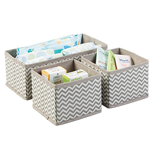 mDesign Organizador para bebe – 3 Cajones organizadores para cosas de bebé, mantas, etc. – Ideal como caja para guardar juguetes – Color: topo/natural