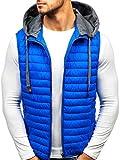 BOLF Gilet – Trapuntato – Con cappuccio – A zip – Sportivo – Di moda – Da uomo S-WEST 1252 Azzurro XL [4D4]