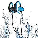 LKJCZ Casques d'écoute sans Fil Bluetooth de Sports IPX8 Professionnels de Haut Niveau, étanches, Cou Suspendu dans Le Cou, écouteurs Bluetooth, Super Natation, Course, Mode de la RSE,Blue