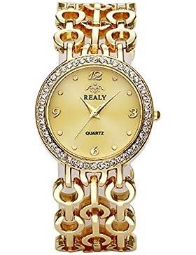 JSDDE Uhren,Elegant Damen Armbanduhr Strass Damenuhr Breit Metallarmband Analog Quarzuhr Armband Armreif Uhr,Gold