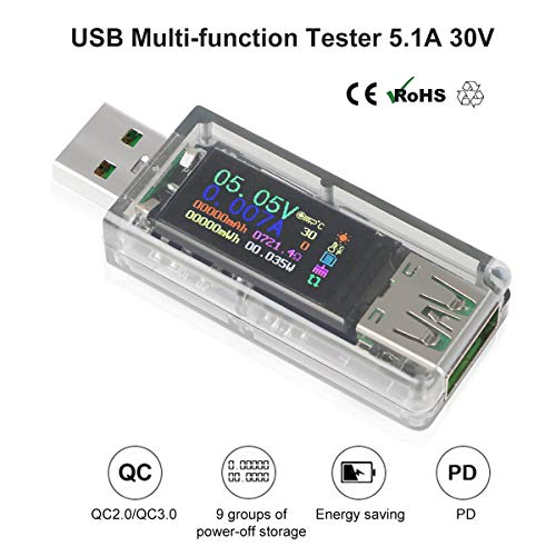 Multimetro USB Tester USB Misuratore USB per la misurazione e il rilevamento della tensione di corrente con display a colori da 0,96 pollici