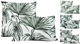 JACK 2X Outdoor Lounge Kissen 45x45cm + 30x50cm Dekokissen Set Palmen Garten Wasserfest Sitzkissen Blätter Reißverschluss Lotus Effekt, Farbe:Tropisch
