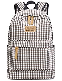 Brand Fashion Plaid Prenteng Canvas Backpack For Teenage Girls Cute Style Middle School Student Bag