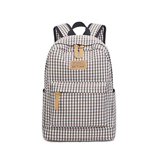 Marke Fashion Plaid Druck Leinwand Rucksack für Teenager Mädchen Niedlichen Stil Mittelschüler Tasche Brown 14 Inches -