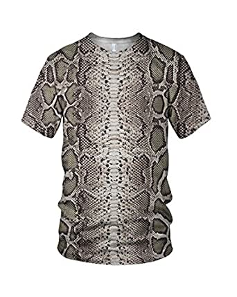All Over Print Snake Skin Related Damen Fashion T Shirt, Mehrfarbig, XL