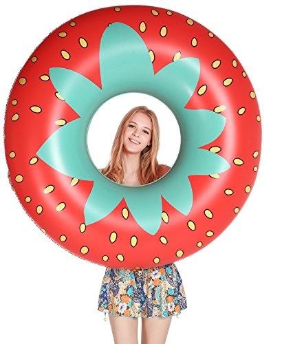 Jasonwell Riesige Erdbeere, Pool-Party Schwimmring, 115cm breite aufblasbare Pool Luftmatratze