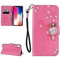 Ostop Glitzer Diamant Brieftasche iPhone XS Hülle,iPhone X Hülle, Rosa Leder Blume Luxus Standfunktion Schuzhülle... preisvergleich bei billige-tabletten.eu