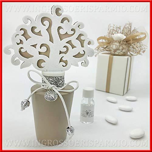 Profumatori per ambiente in ceramica bianco o tortora con albero della vita, strass e ciondolo mappamondo, bomboniere nozze utili 2019, completo di scatola regalo (tortora-con confezione celeste)