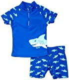 Playshoes Baby-Jungen Schwimmbekleidung UV-Schutz Bade-Set Hai, Blau (original), 74/80