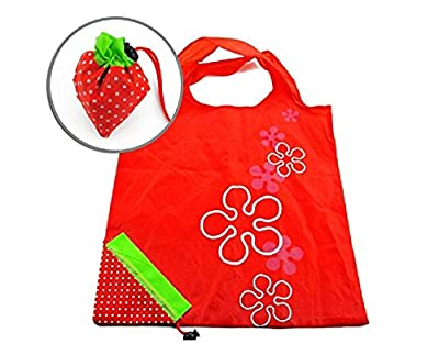 XXWG Strawberry Folding Fold up Reusable Compact Eco periodic duty Recycling use Shopping Bag (A, Strawberry)