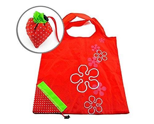 AKORD - Borsa per la spesa pieghevole, compatta, ecologica e riutilizzabile, si richiude in un sacchetto a forma di fragola, colore rosso, 58 x 37,4 x 2 cm