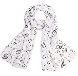 Wicemoon Long Chiffon Silk Scarf Music Symbol Pattern Sunscreen Ultra-thin Shawl Wrap Scarves(White)