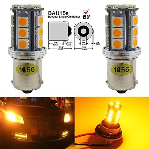 2-Pack 1056 BAU15S 7507 12496 Extrem helles Bernstein / Gelb LED-Licht, 10-30V-DC AMAZENAR 5050 18 SMD 1056 5009 Base Car Ersatzbirne für Tail Reverse Backup Birne Blinker Licht Lampen