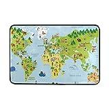 Nifdhkw Cute Kiids Animals World Map Doormats Floor Mats Shoe Scraper for Home Indoor Entrance Way Front Door