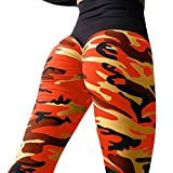 BHYDRY Sport Damen Mode Camouflage Workout Leggings Fitness Sport Turnhalle LäUft Yoga Athletische Hosen Hohe Taille Patchwork(L,Orange)