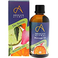 Absolute Aromas Aceite para Masajes Y Baño De-Stress de 100ml - Aceites Esenciales Puros de Incienso, Lavanda, Jazmín y Rosa en una Base de Aceite de Jojoba, Almendras Dulces y Onagra Vespertina