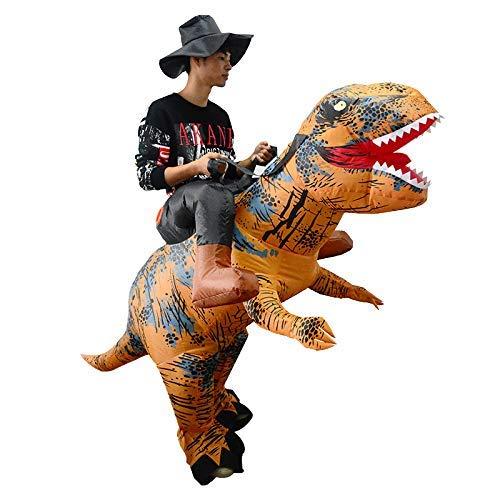 Thematys costume da cavaliere dinosauro gonfiabile con cappello - divertente costume ad aria per adulti 165cm-185cm - perfetto per carnevale, addio al celibato o halloween