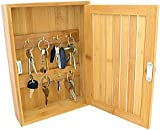 Top Home Solutions Bamboo Wall Mounted Key Box & Brackets Cupboard Hooks Holder Storage Cabinet