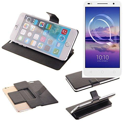 K-S-Trade Schutz Hülle für Alcatel U5 HD Dual SIM Schutzhülle Flip Cover Handy Wallet Case Slim Handyhülle bookstyle schwarz
