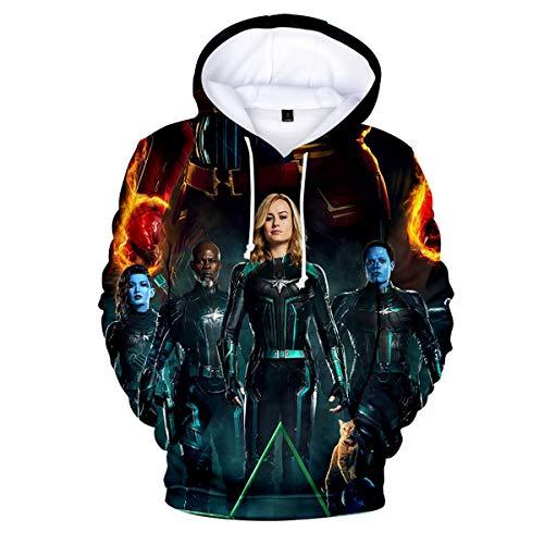 W&TT Kinder 3D HD Print Hoodie Sweatshirt Captain Marvel Cosplay Kostüm für Jungen und Mädchen,F,120