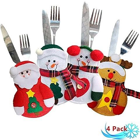 Petansy Décorations de Noël Décoration de Noël Set de porte-vaisselle (4 pièces)