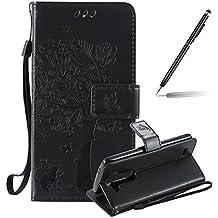 LG G3 Beat Funda, LG G3 Beat Funda Piel, Felfy Puro Realce Gato y el árbol Diseño Cuero Impresión Flip Leather Wallet Libro Billetera Funda Protectora Cierre Magnético con Ranura para Tarjeta Crédito Protectora Funda para LG G3s/G3 mini/LG G3 Beat (Negro)+1x Aguja